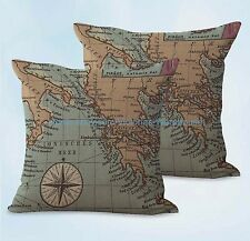 US SELLER, 2pcs home decoration throw  world map vintage accent cushion cover