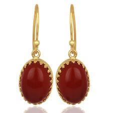Silver Crown Designer Earrings Jewelry Carnelian Gemstone Gold Plated 925