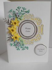 Personalised Handmade Easter/ Birthday/Anniversary   Card Daffodils and Roses