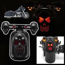 Skull Motorcycle Tail Brake Stop Light & 2 LED Turn Signal Lamp For Harley Honda