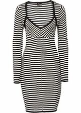 Feinstrick-Kleid Gr. 36 Schwarz Cremeweiß Damenkleid Mini Cocktailkleid Neu`