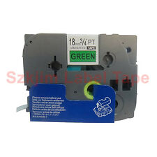 Black on Green Label Tape 18mm 8m Compatible for Brother P-touch TZ-741 TZe-741