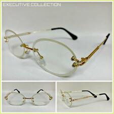 795265c1bd7 Mens Classy LUXURY DESIGNER Style Oval Clear Lens EYE GLASSES Gold Rimless  Frame