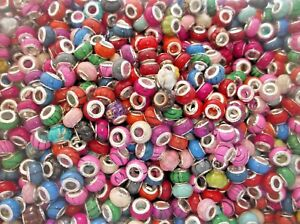 50 x ACRYLIC EUROPEAN CHARM BEADS Silver Core Mixed Styles & Colours 10mm