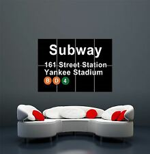 New york city subway yankee stadium signe giant art poster print WA456