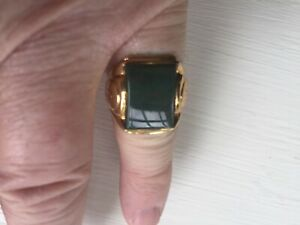 Mens RIng, Bloodstone, 10K Yellow Gold