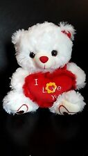 """12"""" Stuffed White Bear w/Sound and Holding """"I Love You"""" Heart Pillow"""