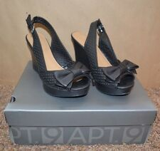 """NEW ~ APT 9 Black OPEN TOE Shoes / Size 6-1/2 M / 3-1/2"""" wedge REALLY CUTE"""