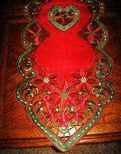 "Christmas & Winter Decor Table Runner Elegant Organza Red Poinsettia 67""x 13"""