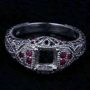 Nice Ruby Solid 10K White Gold Semi Mount 6x6mm Cut Princess Engagement Ring