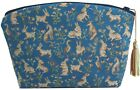 """FRENCH TAPESTRY, """"MILLES FLEURS ET ANIMAUX"""" BLUE ZIPPERED CASE, LADY & UNICORN"""