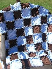 SWEET BABY BOY RAG QUILT/Crib blanket/ rag quilt/ baby shower gift/blue&brown