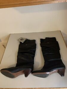 Frye Jenny Double Black Leather Boots 8 1/2 New With Tags
