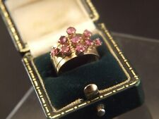 Antique 14K YELLOW GOLD  9 PINK RUBY GEMS STACKING 5 BAND  RING  SIZE 5 GIFT