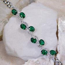 "16Ct Green Emerald & White Topaz Victorian Style Silver Bracelet 7"" Gbr196"