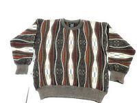 Vintage Baracuta Men Wool 3D COOGI STYLE Knit Crew Neck Sweater Size XL Multi