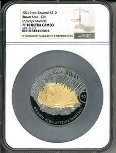 2021 New Zealand $10 Kiwi Proof 5 oz Silver Coin w/Gold - NGC PF 70 - 350 Made