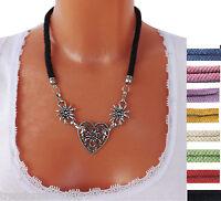 Trachtenschmuck Halskette Kette Collier Dirndlkette Dirndl Herz Kordel Farbwahl