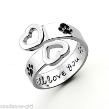 Fashion Women's Letter Carved Love Heart Dog Paw Open Ring Adjustable Jewelry