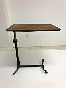 Vintage HOSPITAL TABLE rolling cast iron medical bedside tray surgical stand old