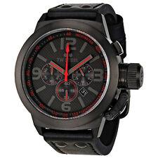 TW Steel Canteen Black Dial Chronograph Black Leather Mens Quartz Watch TW902
