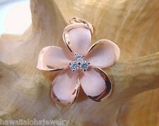 28mm Hawaiian 14k Rose Gold Over Silver Brushed Satin Plumeria 3 CZ Pendant #3