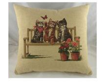 Kittens on Bench Woven Belgian Tapestry Cushion - Evans Lichfield cat kitten