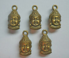 5 x  BUDDHA HEADS BRONZE COLOUR DOUBLE SIDED 15mm x 7mm