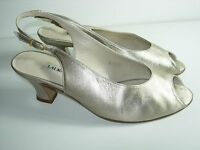 WOMENS GOLD LEATHER PEEP TOE SLINGBACK HEELS PUMPS EVENING SHOES SIZE 7.5 M