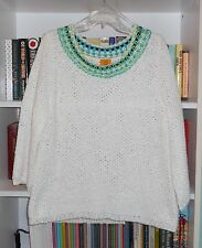 RUBY ROADS POPCORN KNIT NWT WHITE COTTON POLYESTER SWEATER XL MSRP $68