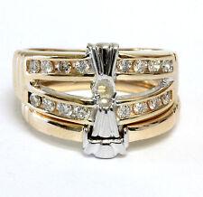 14k yellow gold .32ct diamond semi mount engagement ring wedding band set 7.15g