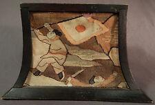 Antique Japanese Tsuzure Ori Kesi Cut Silk Tapestry Lantern Lampshade Panels Vtg