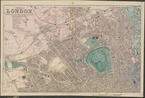 FOUR LONDON CITY PLANS, STREET PLANS, original antique maps, Bacon, 1884