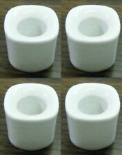"""Lot of 4 White Ceramic Candle Holders for 1/2"""" wide Mini Chime Candles"""