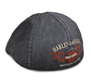HARLEY-DAVIDSON® MEN'S BAR & SHIELD FLAMES GREY IVY FLAT CAP 99537-11VM LARGE