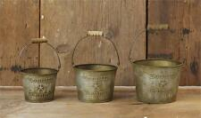 Primitive SET of 3 COUNTRY LIVING BUCKETS Rustic Green French Vintage Star Pail