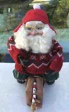 Unique 1980's Santa Sitting on a Suitcase Figurine - Ussr/Italy Stickers