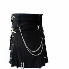 Men Professional Scottish Traditional Gothic Kilt Black Unisex Adult Handmade
