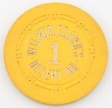Wilbur Clark's Desert Inn Casino Roulette Chip Las Vegas Table 1 H Mold Yellow