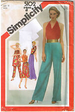 Vtg 80s Halter Top Tunic Wrap Skirt Pants Resort Simplicity Sewing Pattern Sz 10