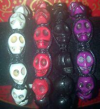 Quantity 4 Skull Head Gothic Punk Halloween Bracelet Bangle Adjustable UK Seller