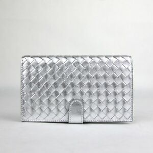 New Bottega Veneta Women Metallic Silver Leather Woven Bifold Wallet 132357 1420