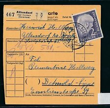 94052) Paketkarte Heuss, EF 2DM Allendorf - Detmold Lippe , Michel 90€