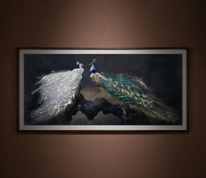 Copperplate Handcraft  Engraves Peacock White Peacock Decoration Wall painting