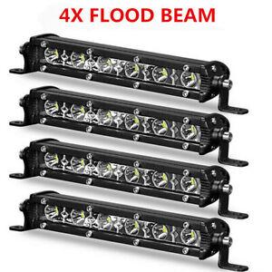 4X 7inch Slim LED Light Bar Single Row Flood Driving Fog Offroad Truck SUV 4WD