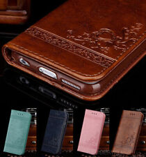 Luxury Genuine Real PU Leather Wallet Slim Case Cover For Various iPhone Samsung