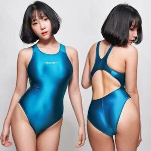 2020 New LEOHEX Sexy Satin Glossy Body Suit High Cut One Piece Swimwear Women