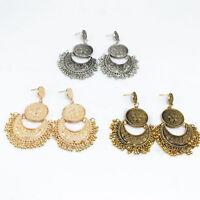 Women Vintage Jewelry Boho Ethnic Tassel Coin Drop Dangle Chandelier Earrings