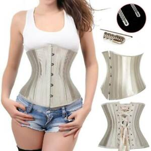 Womens Satin Gothic Bustier Top Lace Up Waist Trainer Underbust Corset Plus Size