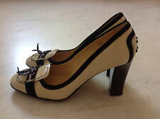 TOD'S Cream Patent Leather Heel Shoes with Black Leather Trimming  SIZE 39 UK 6